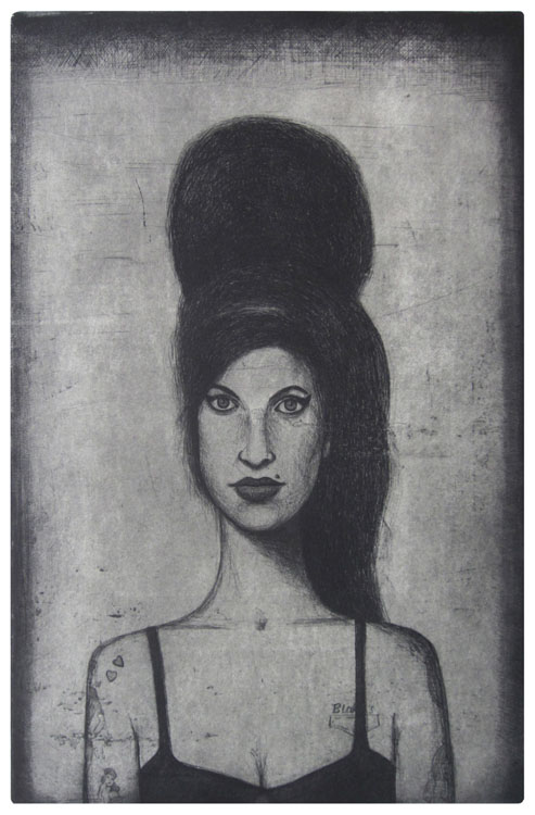 amy winehouse etching by guido pigni