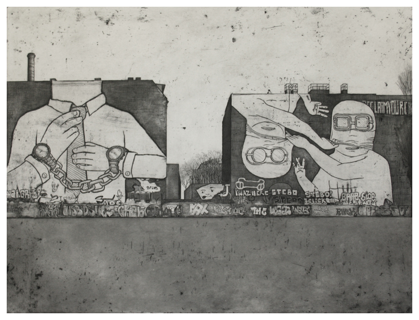 berlino kreutzberg graffiti etching by guido pigni