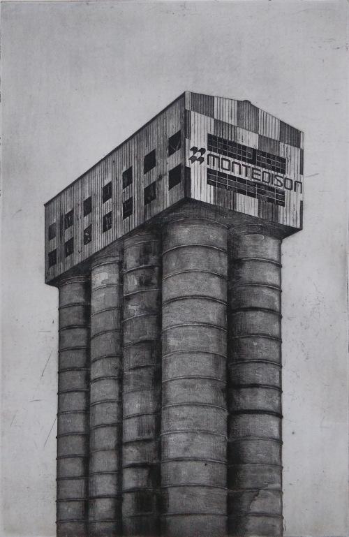 montedison vinavil silo etching by guido pigni