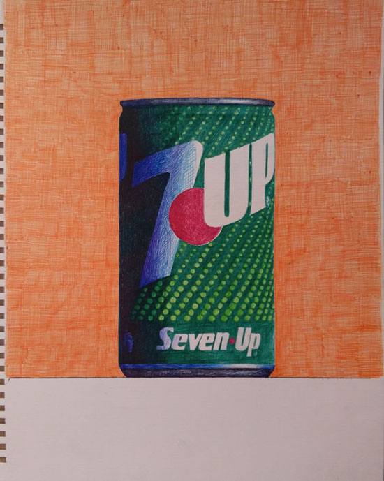 7up vintage can by guido pigni colored pens on paper