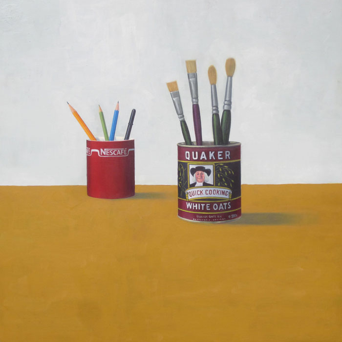 Quaker white oats can and nescafe mug still life by guido pigni