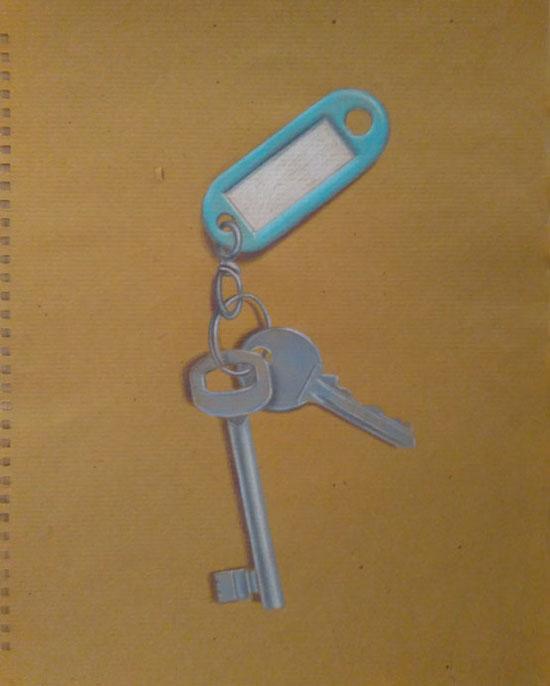 guido pigni chiavi matite colorate su carta