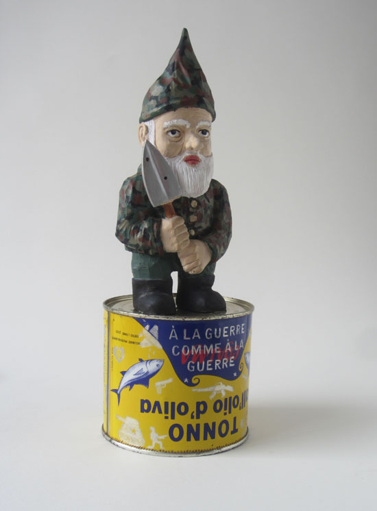 dwarf by guido pigni painted wood and metal can sculpture