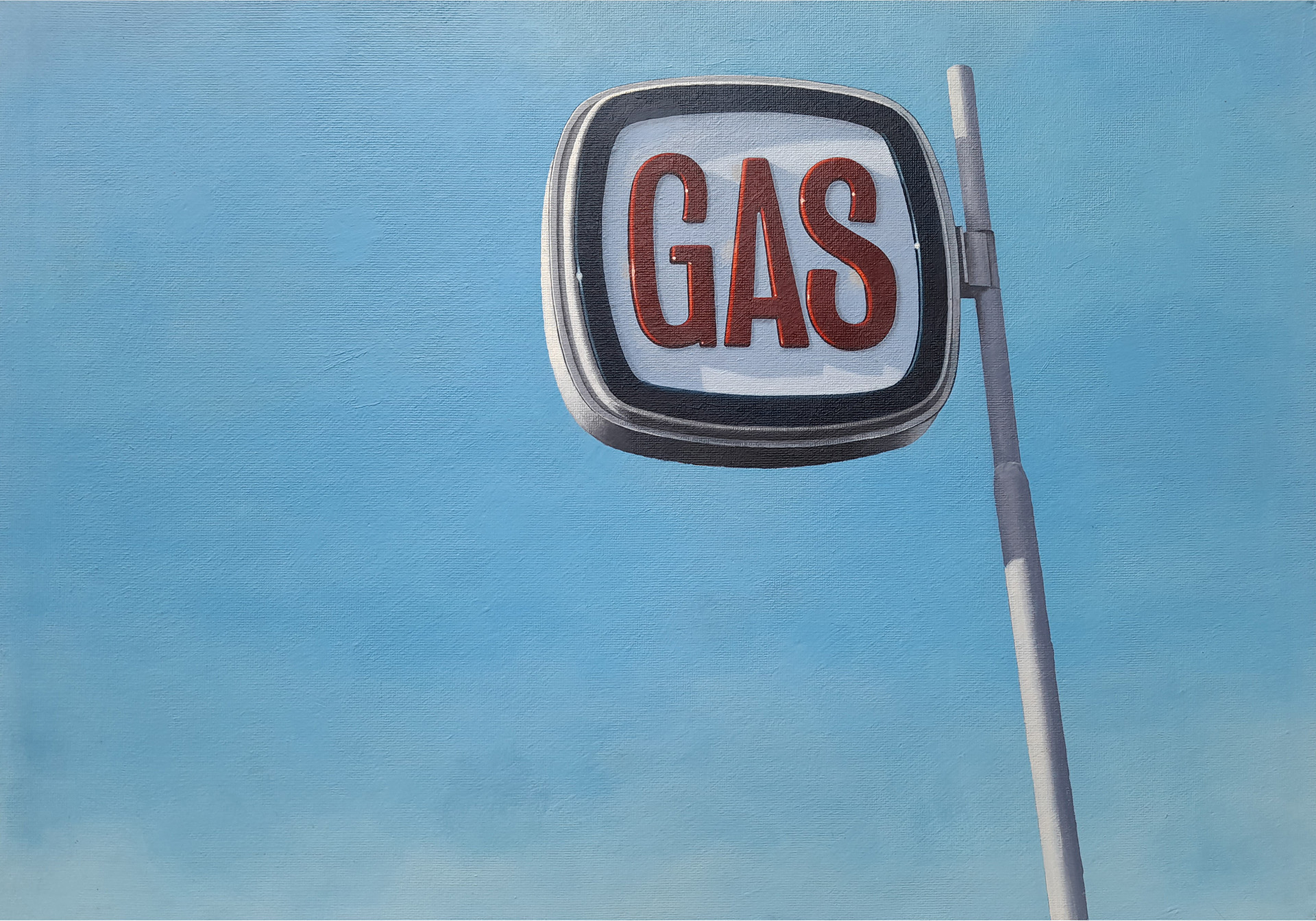 gas station painting by guido pigni