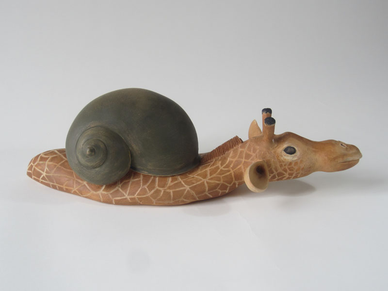 guido pigni slow giraffe painted wood sculpture