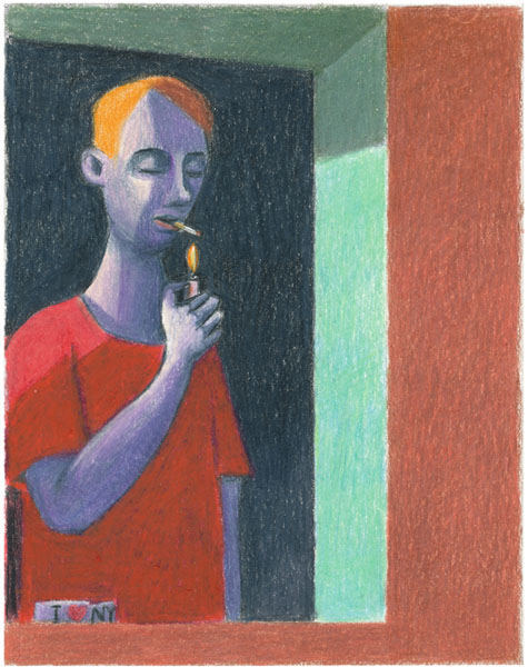 boy at window colored pencil guido pigni