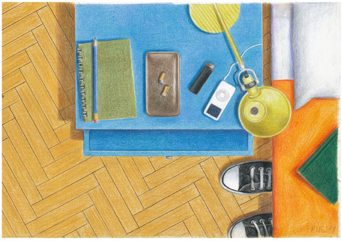 bedroom colored pencil guido pigni