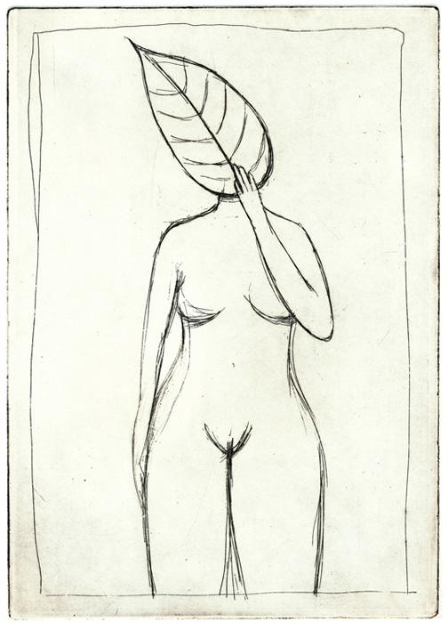 guido pigni etching, shame, donna_con_foglia