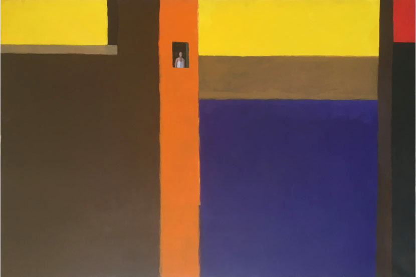 guido pigni acrylic on canvas painting man at the window