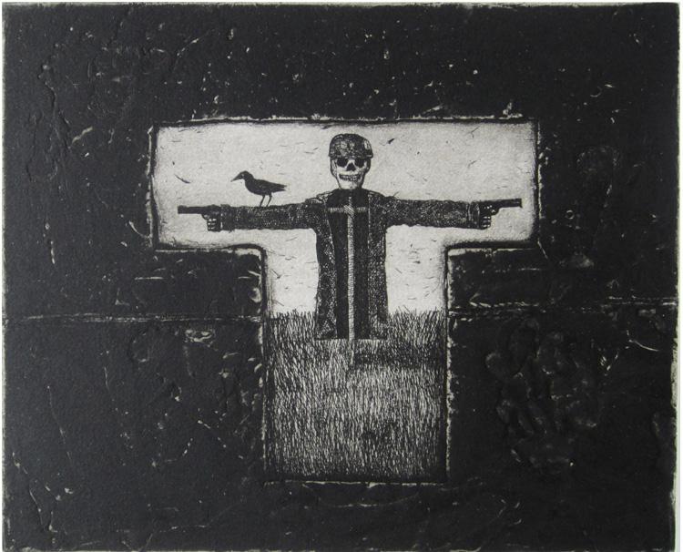 scarecrow_carborundum etching guido pigni