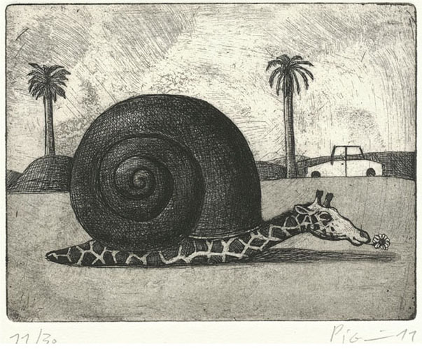 pig prints slow_giraffe etching by guido pigni