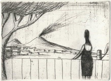 guido pigni etching drypoint woman looking at the gulf of Naples
