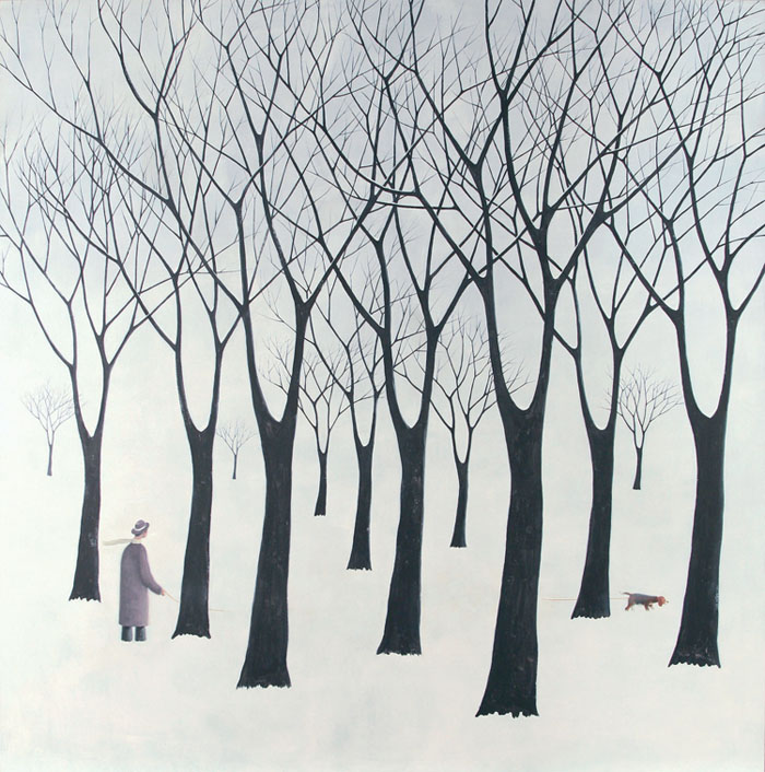 guido pigni, walking the dog in winter, acrylic on canvas