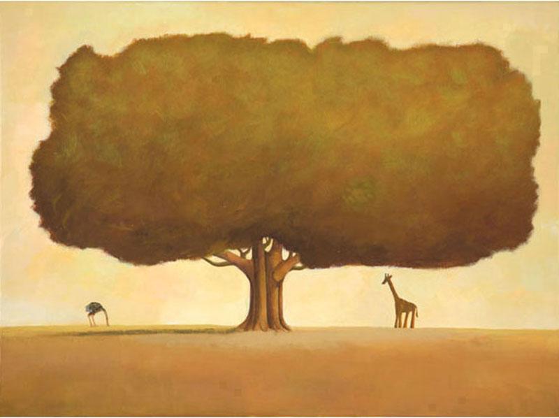 guido pigni, giraffe and ostrich