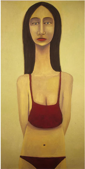 guido pigni, woman with hidden arms, acrylics on canvas