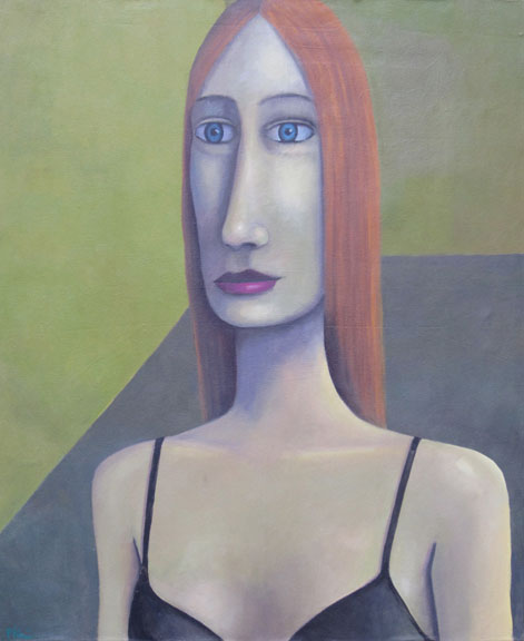 guido pigni, woman in bra, acrylics on canvas