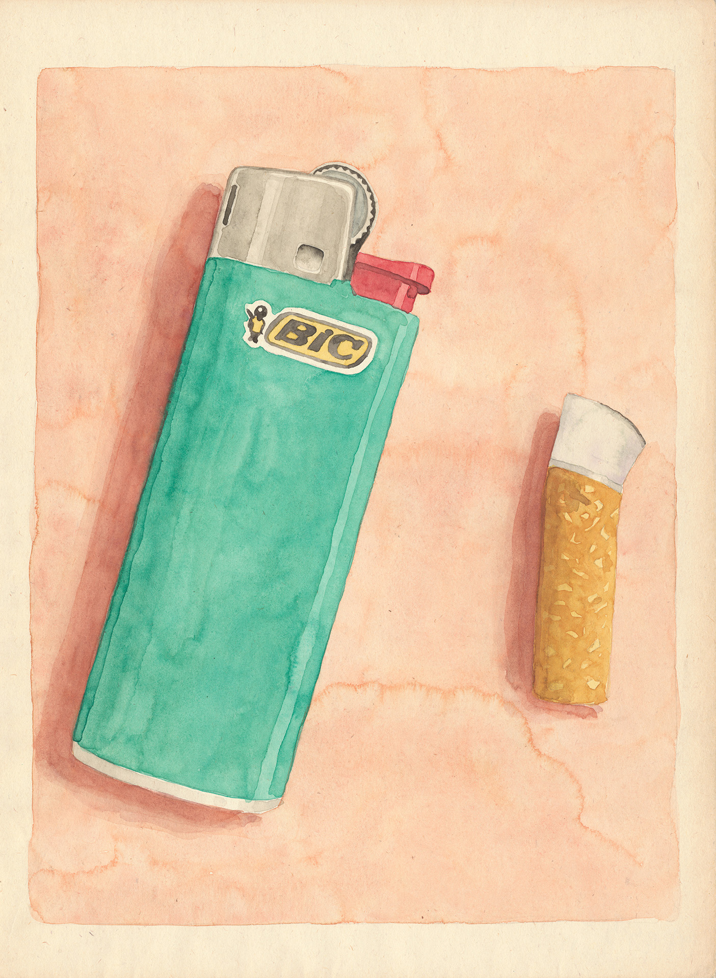 BIC LIGHTER watercolor on paper cm 33x25