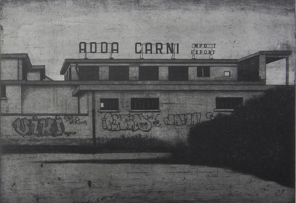 Adda Carni (Import-export) 2014, etching and aquatint, edition of 15. Hand signed and numbered by the artist. Printed on Hahnemühle paper 350 gsm. Plate size cm 40x50, paper size cm 60x80