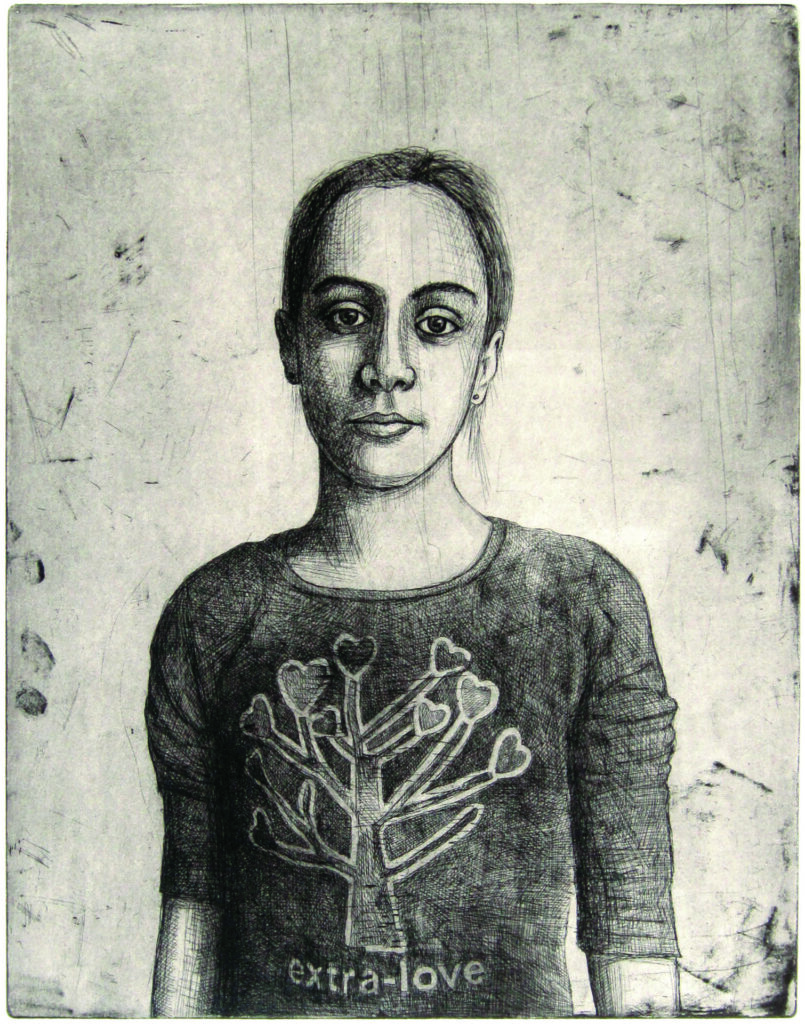 Beatrice Etching 2011, etching, aquatint and drypoint. Edition of 15, hand signed and numbered by the artist. Printed on Hahnemühle paper 350 gsm. Plate size cm 45×35, paper size cm 60×80