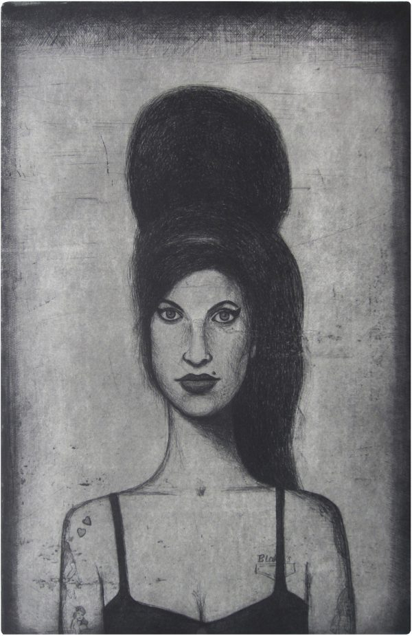 amy winehouse etching by guido pigni 2014, etching, aquatint and drypoint. Edition of 15, hand signed and numbered by the artist. Printed on Hahnemühle paper 350 gsm. Plate size cm 50×32, paper size cm 70×50