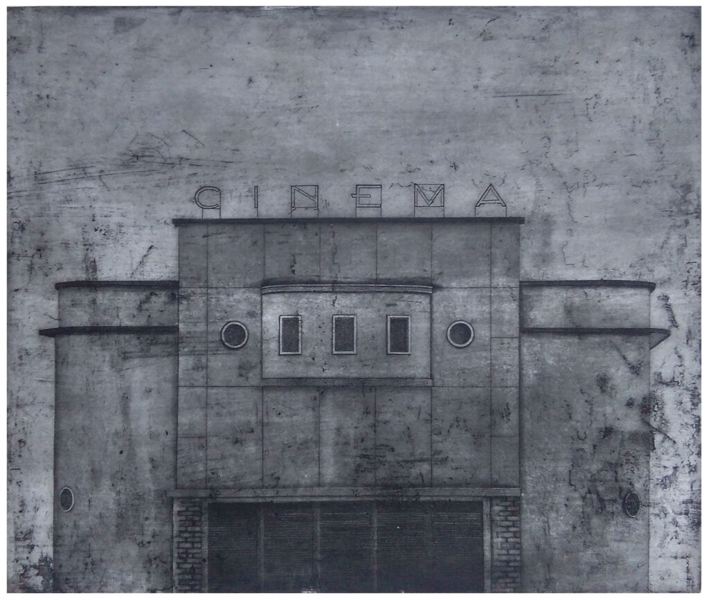 Cinema 01 2015, etching and aquatint, edition of 20. Hand signed and numbered by the artist. Printed on Hahnemühle paper 350 gsm. Plate size cm 49×58, paper size cm 75×80