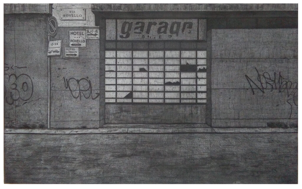 Garage Dante 2016, etching and aquatint. Edition of 12, hand signed and numbered by the artist. Printed on Hahnemühle paper 350 gsm. Plate size cm 47×77, paper size cm 70×100