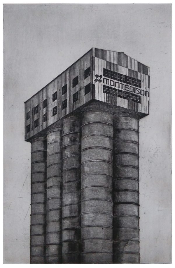 Vinavil silo 2016, etching, aquatint and drypoint. Edition of 20, hand signed and numbered by the artist.Printed on Hahnemühle paper 350 gsm. Plate size cm 32×49, paper size cm 50×70