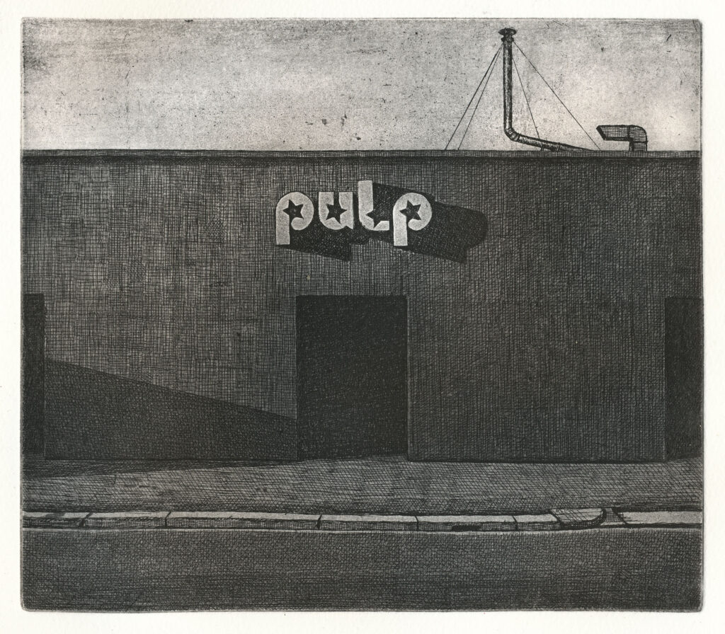 Pulp Club 2015, etching and aquatint, edition of 20. Hand signed and numbered by the artist. Printed on Hahnemühle paper 350 gsm. Plate size cm 17×19, paper size cm 38×42,5